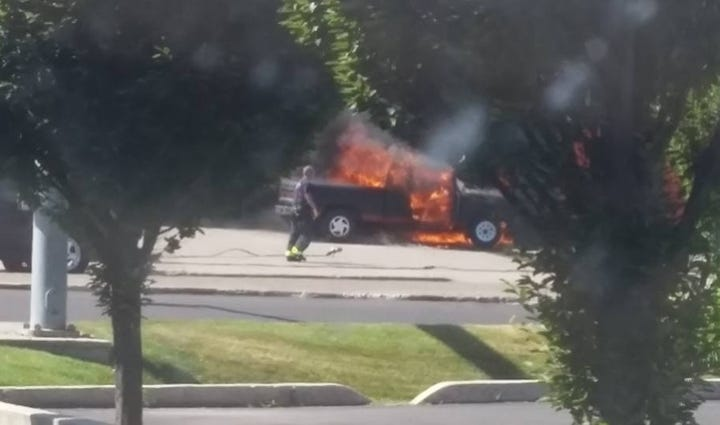 Truck on fire near Trent and Hamilton