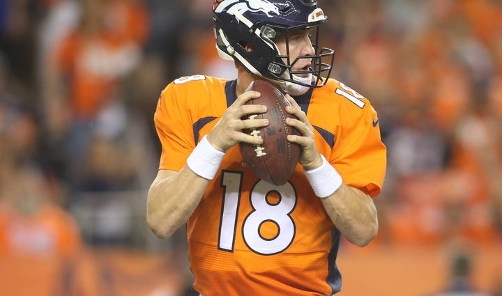 Aug 29, 2015; Denver, CO, USA; Denver Broncos quarterback