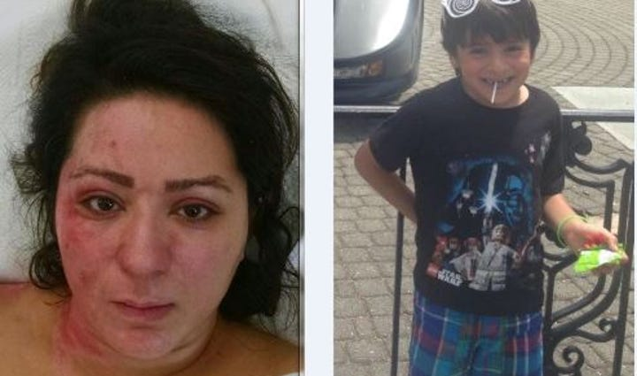 The mother of a five-year-old boy who died in a fiery