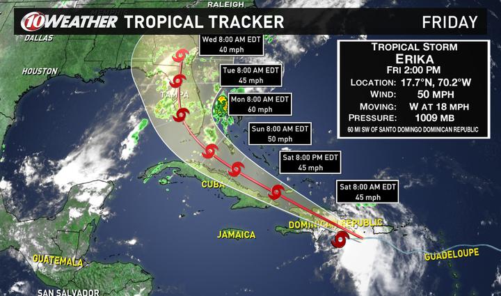 2PM Tropical Storm Erika storm track