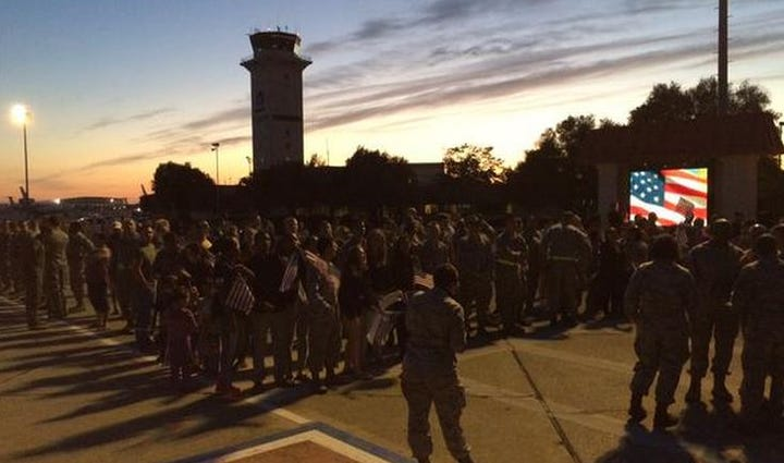 Spencer Stone got a hero's welcome at Travis Air Force
