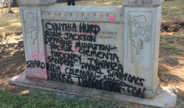 Confederate Monument vandalized a second time.