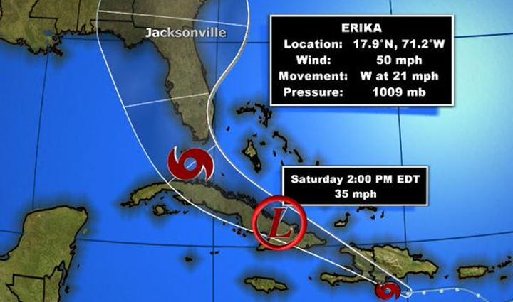 The latest track as of 5 p.m. Friday