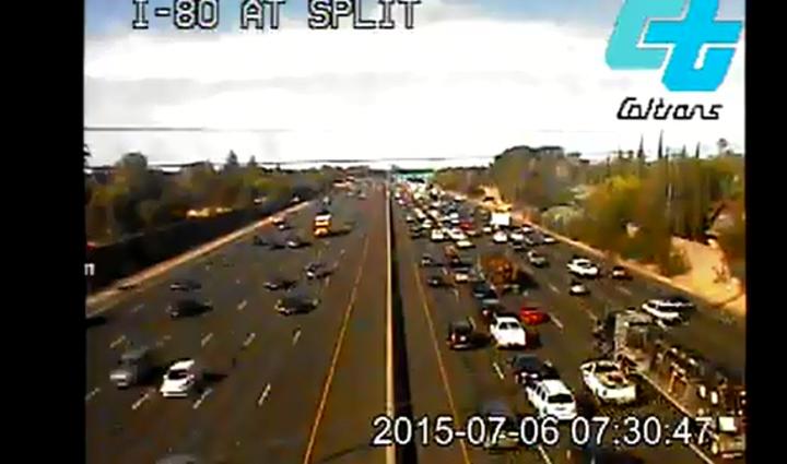 Traffic on I-80 westbound