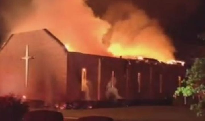 Mt. Zion AME church in Greeleyville, SC on fire