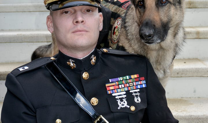 Captain Jason Haag and Axel, nominee for Hero Dog of