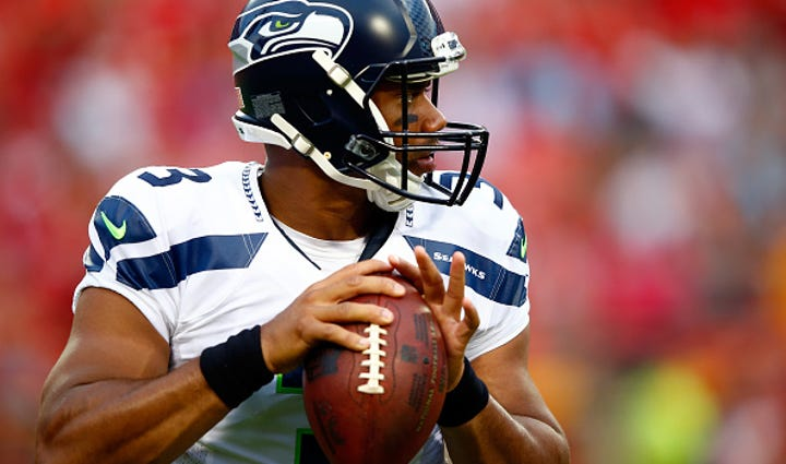 Seahawks QB Russell Wilson during the preaseason game