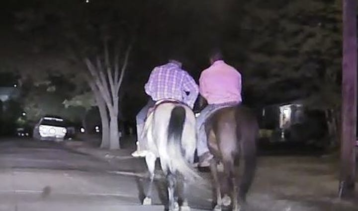 Two men on horseback led Mesquite police on a chase.