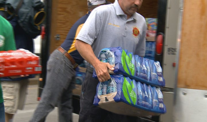 Free water is being made available to evacuees forced