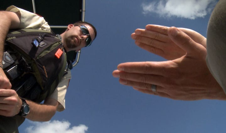 """TWRA officers demonstrate the """"palm pat"""" field sobriety"""