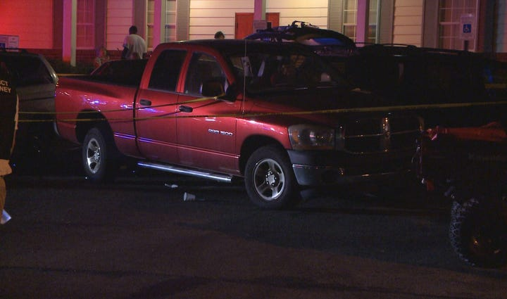 Police say this pickup truck sharply accelerated in