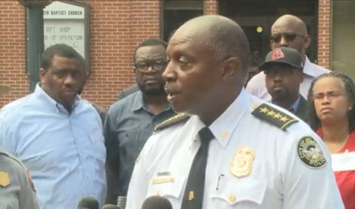 Atlanta Police Chief George Turner holds a news conference