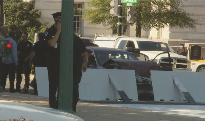 A car crashed into the south barricade of the U.S.