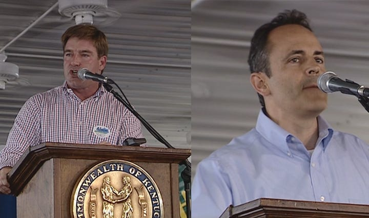 Current Attorney General Jack Conway (L) and Matt Bevin