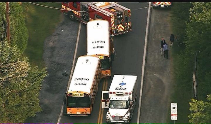 Two Montgomery County School buses crashed Monday morning,