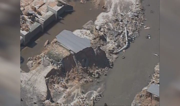 Aerial footage of the devastation in the Midlands on