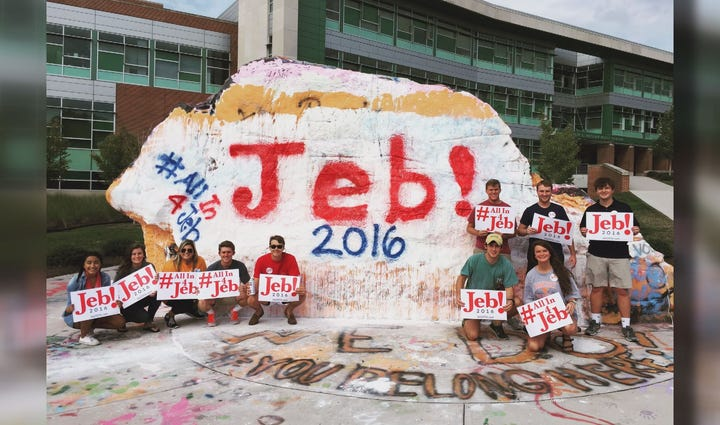Some UT College Republicans painted the rock Friday