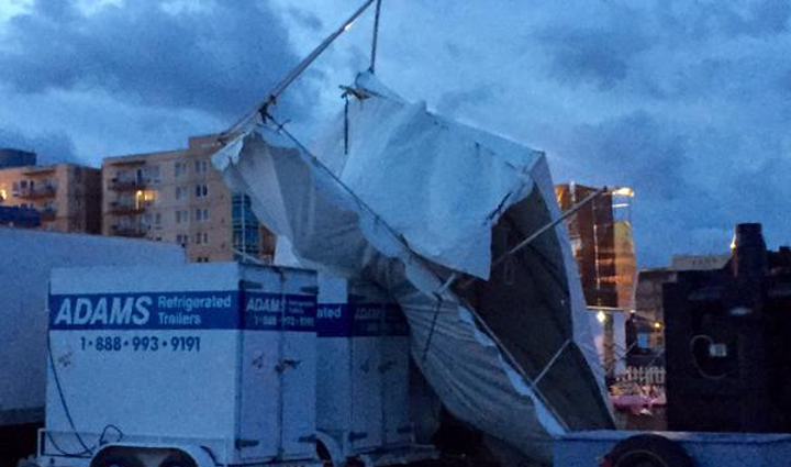 The wind destroys a tent at the Hood to Coast finish