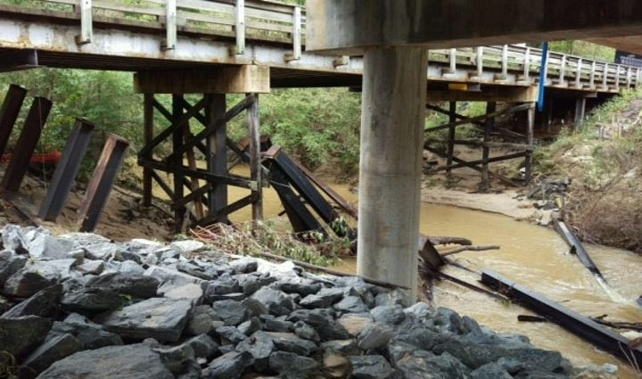 Worsham Mill Road Bridge loses four support beams to