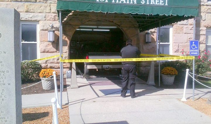 Truck driven into Fentress County Courthouse in Jamestown,