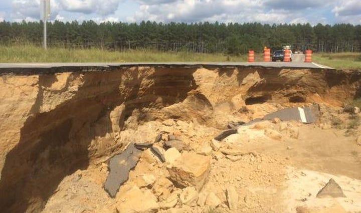The damage along Eddie Watkins Road in Lee County on