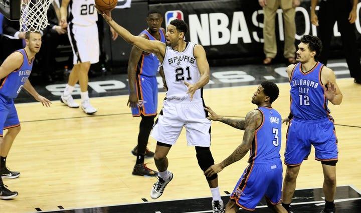 Spurs forward Tim Duncan has has won five NBA championships