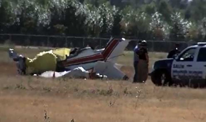 The scene of the plane crash at the Salem Airport.