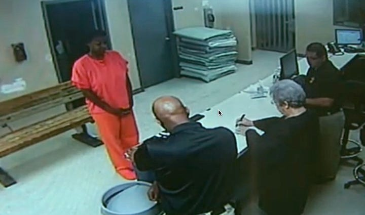 Waller County Jail booking video showing Sandra Bland