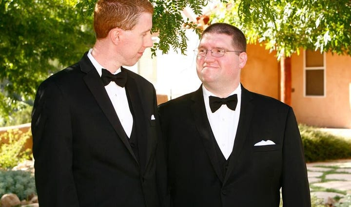 James Stone (L) and John Hoskins (R) married in New