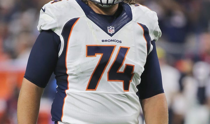 Ty Sambrailo #74 of the Denver Broncos in action in