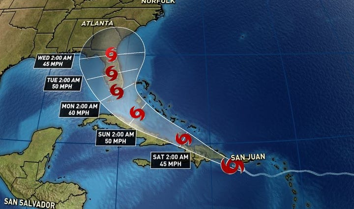 National Hurricane Center track for Erika has shifted