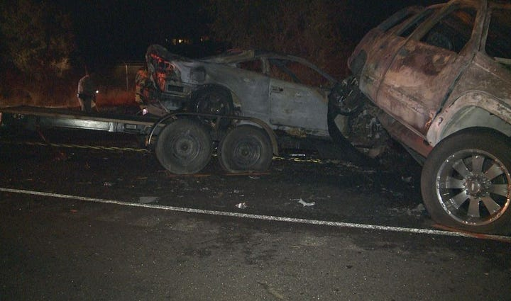 Scene after a head on crash in Rancho Murieta