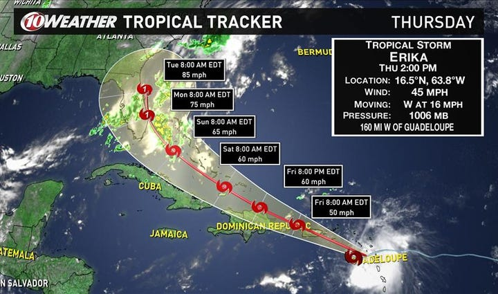 NHC: Erika expected to strengthen