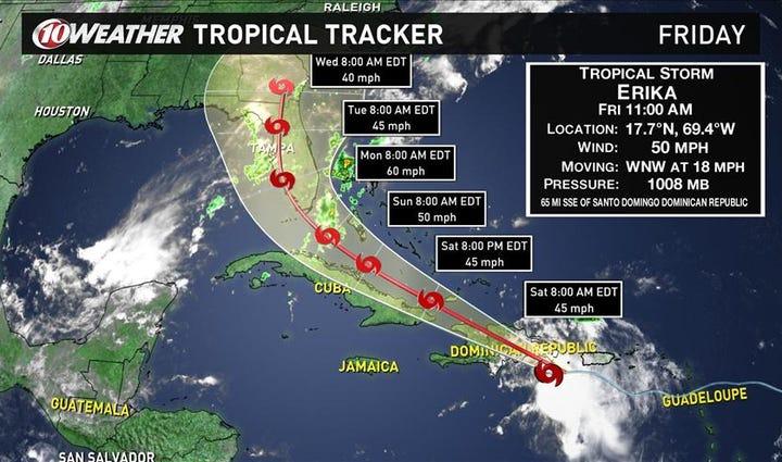 Tropical Storm Erika storm track