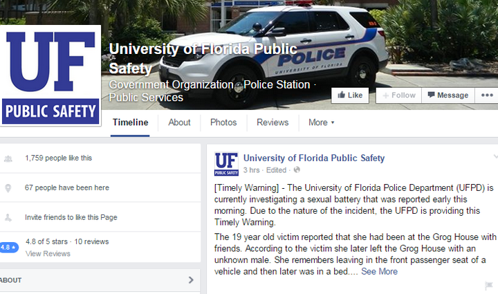 The University of Florida Public Safety Facebook page