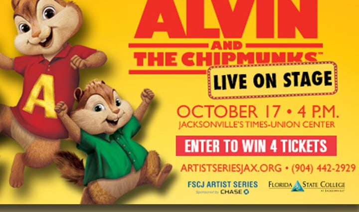 See Alvin & The Chipmunks LIVE On Stage Saturday, October