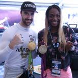 Olympic champ Claressa Shields visits IndyCar's James Hinchcliffe at Belle Isle