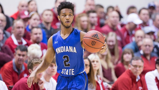 Jordan Barnes of Indiana State University, during game action against Indiana University, Assembly Hall, Bloomington, Friday, Nov. 10, 2017. Indiana State University won 90-69.