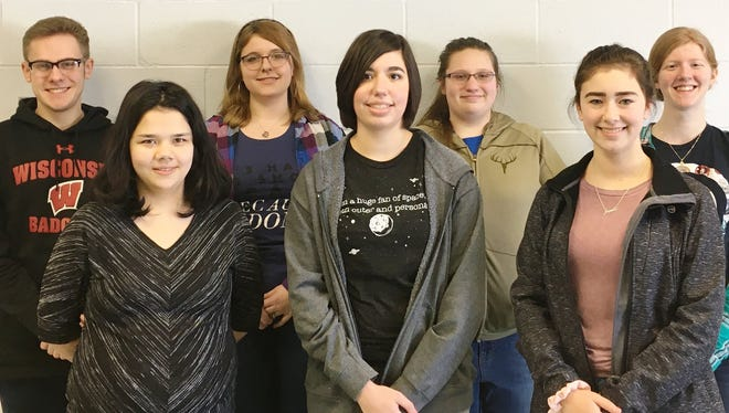Wisconsin Valley Lutheran High School students who participated in the District Solo & Ensemble Festival at Rosholt High School are, front row from left, Serena Sparks, Bella Montgomery and Sara Sawyer, and back row, Samuel Jordan, Isabella Heyel,  Shelby Smukowski and Anna Wiesneski.