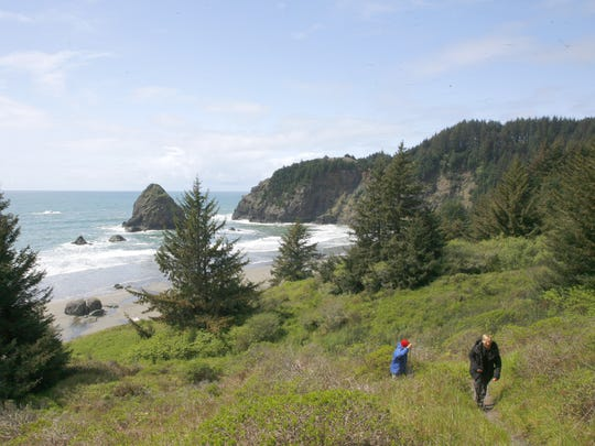 The trail down to Whaleshead Beach at Samuel H. Boardman State Scenic Corridor on Oregon's South Coast.