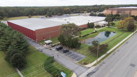 A view from above of the Labinal Power Systems plan in Salisbury. The Wicomico Youth & Civic Center is in the upper right of the frame.