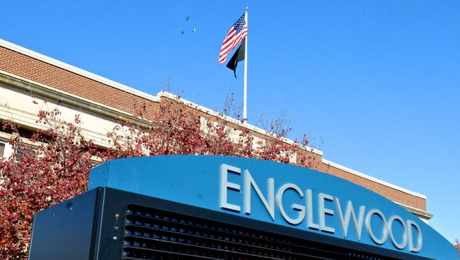 An electronic marquee in front of Englewood City Hall.