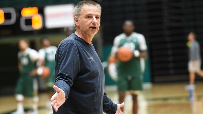 "CSU basketball coach Larry Eustachy gives instructions to his players during a practice last season. Eustachy and the program are currently under a ""climate assessment"" and he is on paid administrative leave."