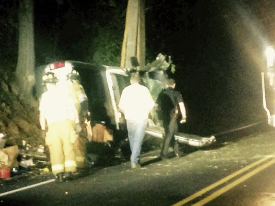 North Annville crash: Bellegrove and Annville-Cleona firefighters help to clear a vehicle from the 1600 block of Route 934 after a crash at 5:52 p.m. Thursday. A truck crashed into a utility pole, cracking it, and then rolled on its side. Injuries were reported.  A police report was not immediately available.