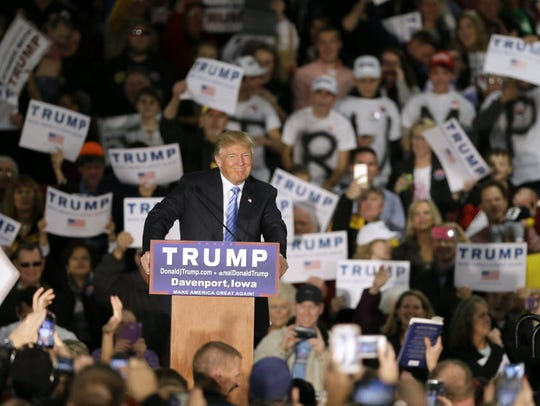 Republican presidential candidate Donald Trump campaigns