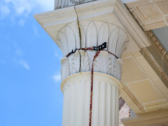 Replacment of terra cotta pieces on Southern Miss'