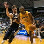 Los Angeles Lakers forward Metta World Peace (37) dribbles against Utah Jazz guard Gordon Hayward during the first half of an NBA preseason basketball game.