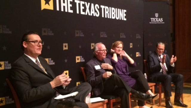 UT-Austin Professor James Henson leads a discussion with state Rep. Todd Hunter, Sen. Konni Burton and Sen. Jose Rodriguez.