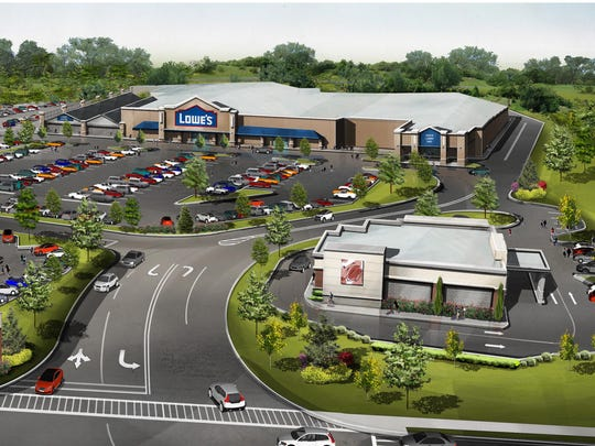 A rendering of the Lowe's and some of the other businesses that will be coming to 2300 Old Crompond Road in Yorktown.
