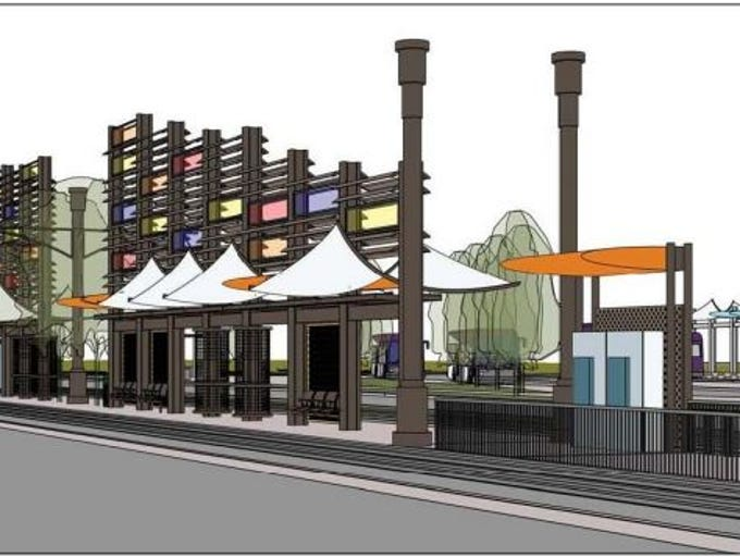 A rendering of the planned Gilbert Road light rail